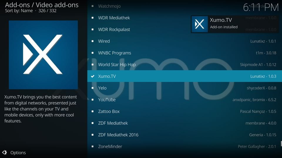 xumo tv-add-on