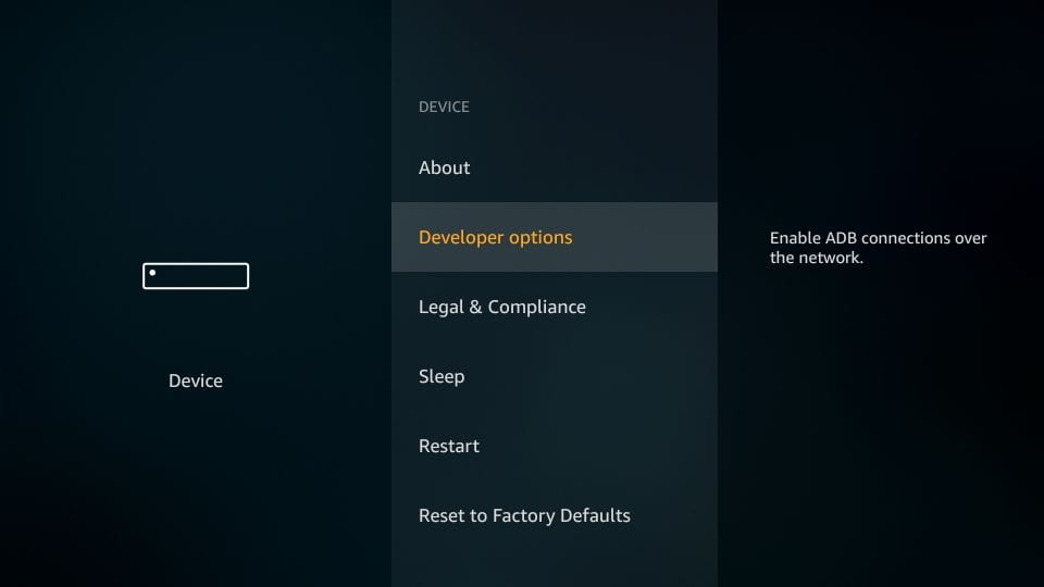 go to developer options on fire stick
