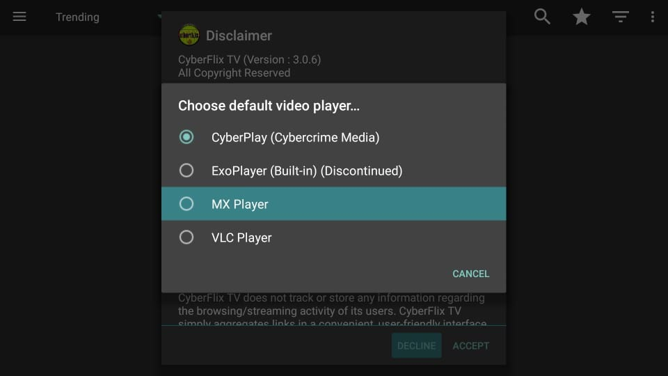 pilih mx player untuk cyberflix tv di firestick