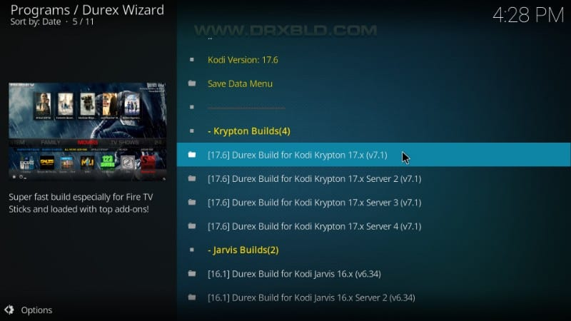 build Durex per kodi krypton