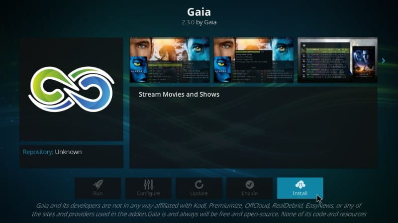 how to add Gaia on kodi