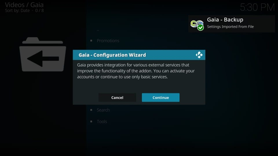 gaia addon setup process on kodi