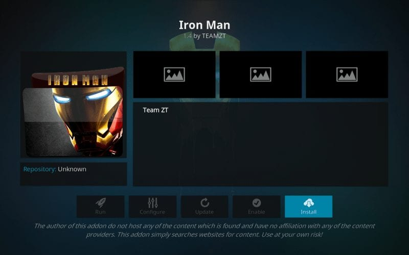 how to install iron man addon on kodi