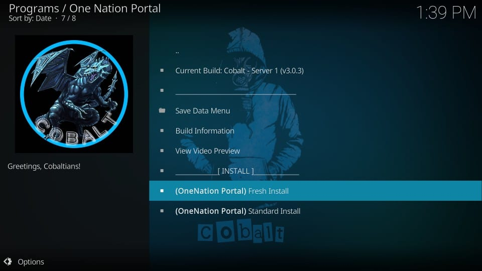 Kodi One Nation Portal baut