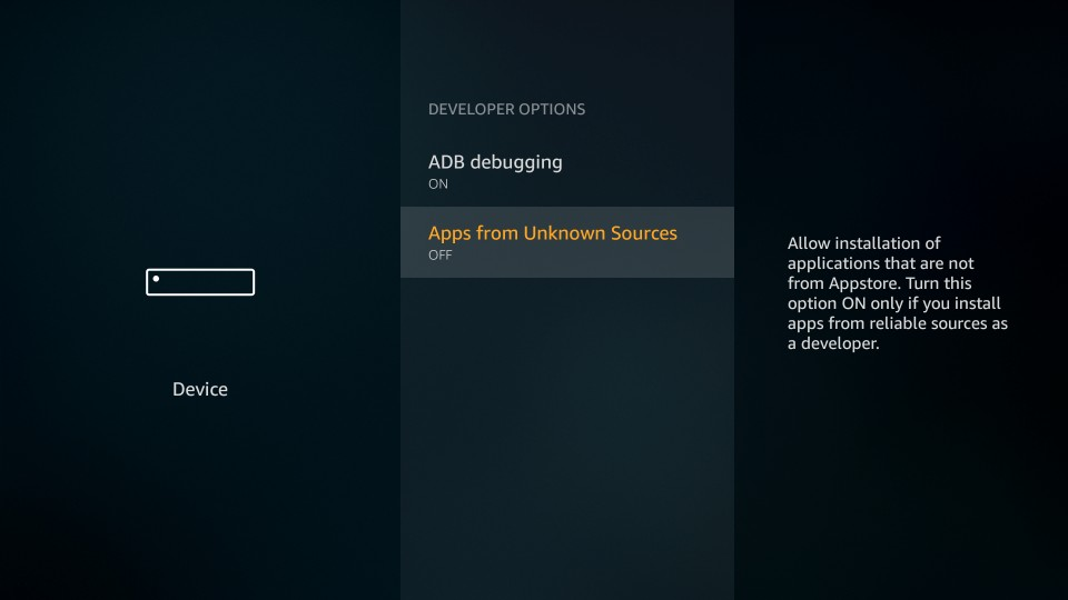 enable apps from unknown sources on firestick