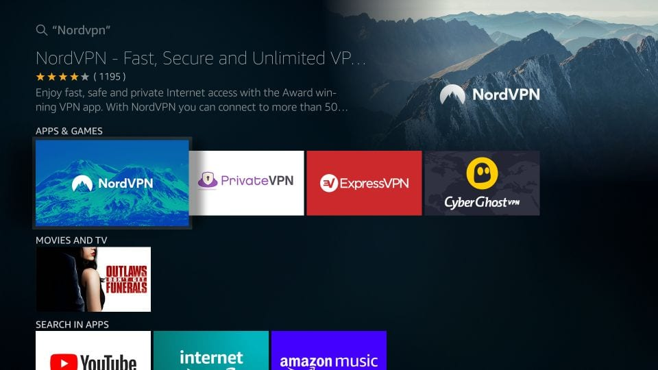 search nordvpn on firestick