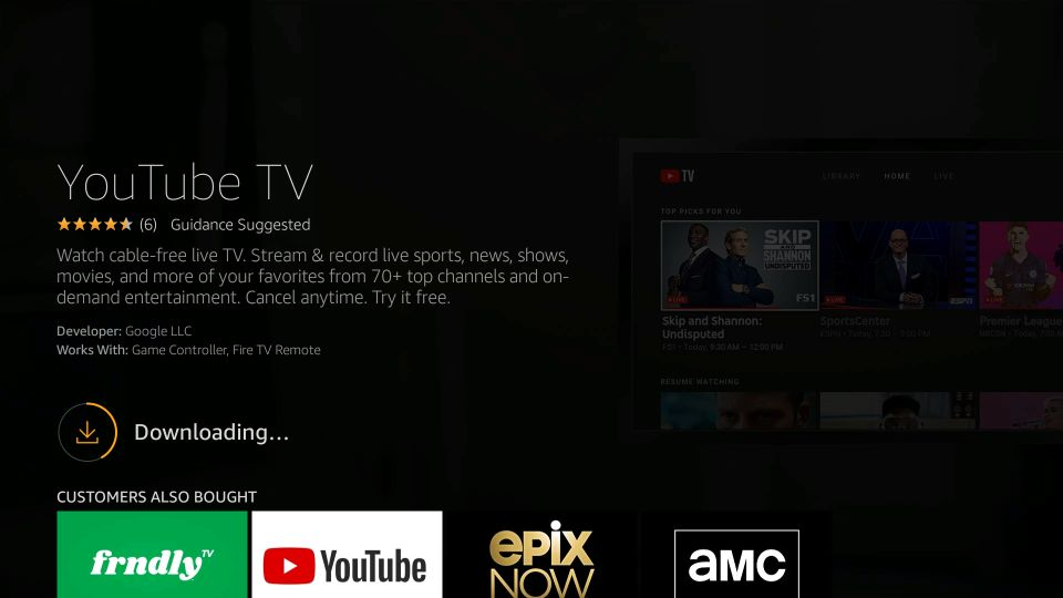 ladda ner YouTube-tv på Amazon Fire TV