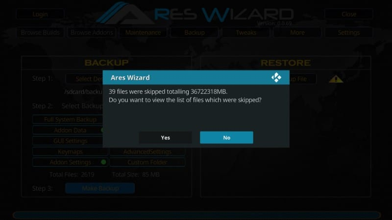 ares backup Wizard