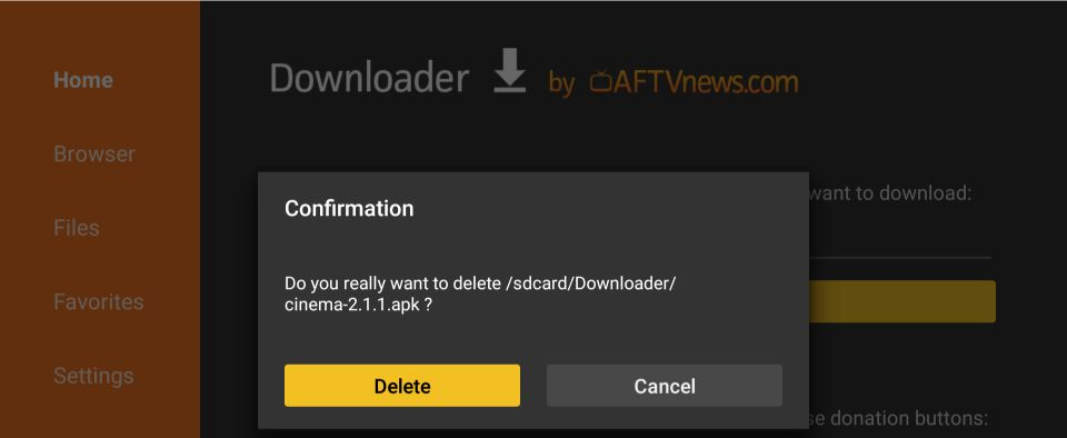 downloader-app på Android tv-boks