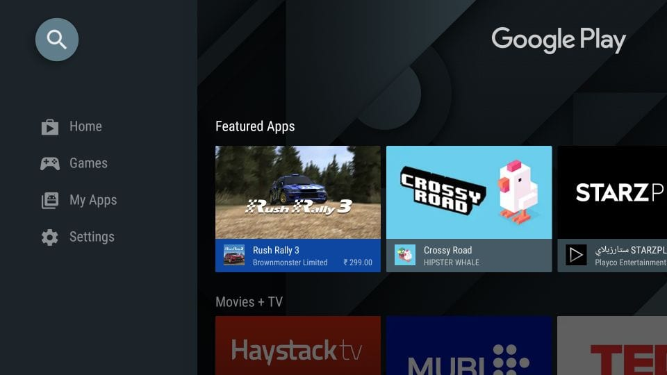 sidelæs apps på Android tv-boks