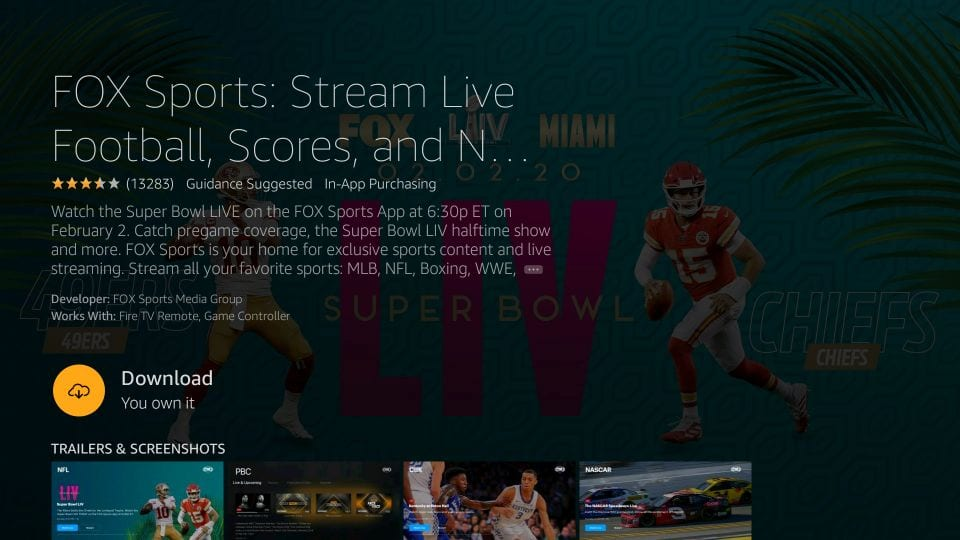 Fox Sports App per lo streaming di calcio in diretta, i punteggi